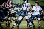 Sneer and Loathing throwing some blocks during a bout